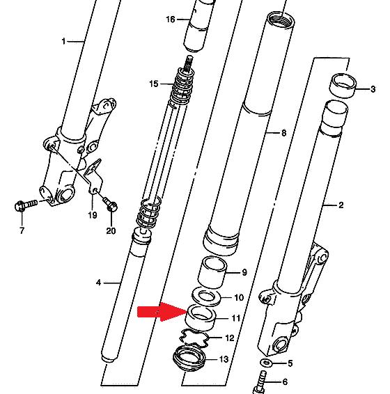 SUZUKI Сальник передней вилки 51153-46E20-000 (43x55x9,5