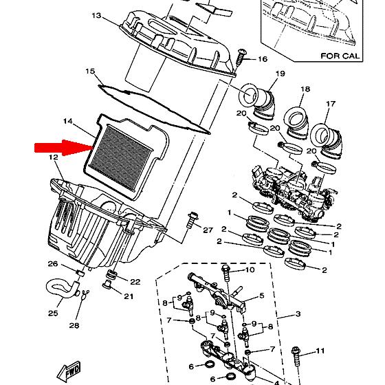 Оригинальный воздушный фильтр для YAMAHA FZ-09, MT-09 1RC