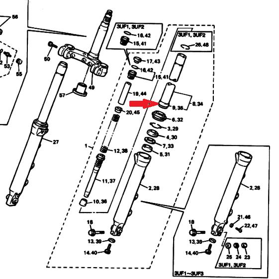 YAMAHA Направляющая втулка передней вилки 3JJ-23171-00-01