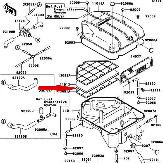 HFA2909 Воздушный фильтр для мотоциклов KAWASAKI в