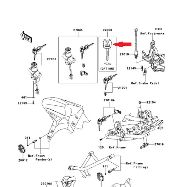 KAWASAKI Заготовка ключа зажигания 27008-0618 в магазине