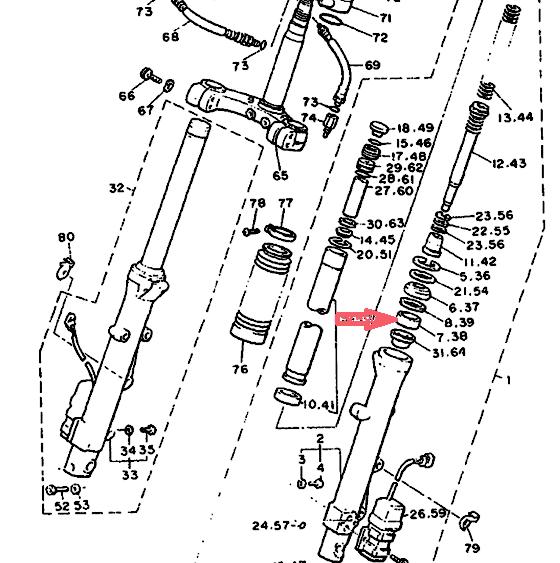 YAMAHA Направляющая втулка передней вилки 3JJ-23125-00-00