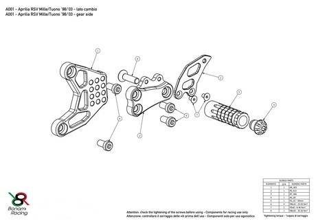 Bonamici Billet Rearsets: APRILIA RSV 1000 / TUONO (98-03)