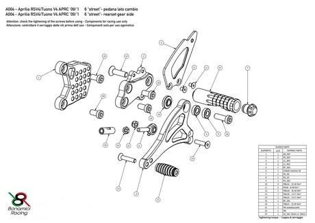 Bonamici Adjustable Billet Rearsets: APRILIA RSV4 / TUONO