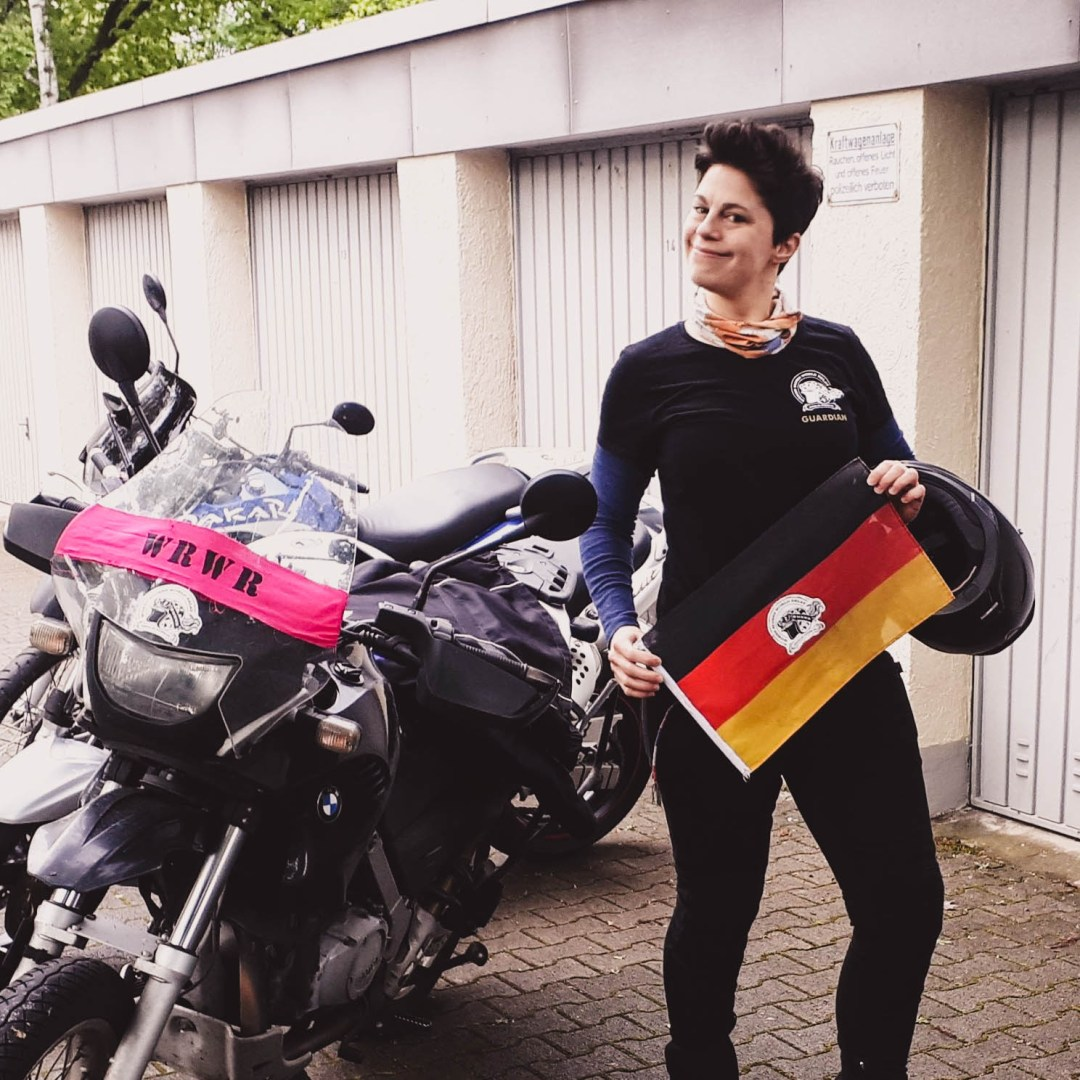 Female motorcycle rider during women riders world relay