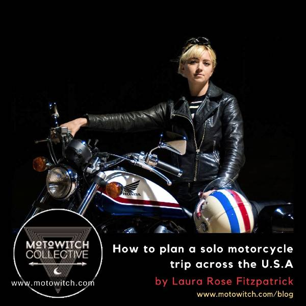 retro style woman on motorcycle sharing her tips on how to plan a motorcycle trip across the USA