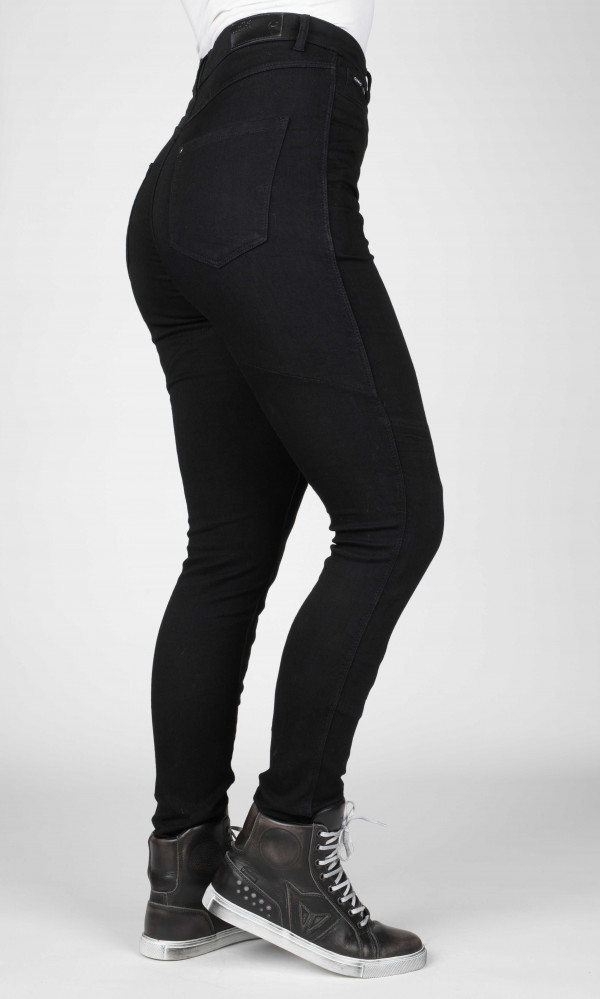 motorcycle jeans for women in black with high waist kevlar and armour