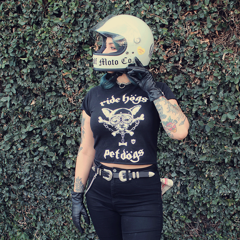 alternative model with tattoos and green hari wearing she wolf moto co Ride hogs pet dogs tshirt