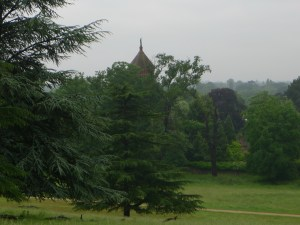 a view downslope of green trees with boughs like spruces, green grass, grey sky and the top of a red tower behind the trees