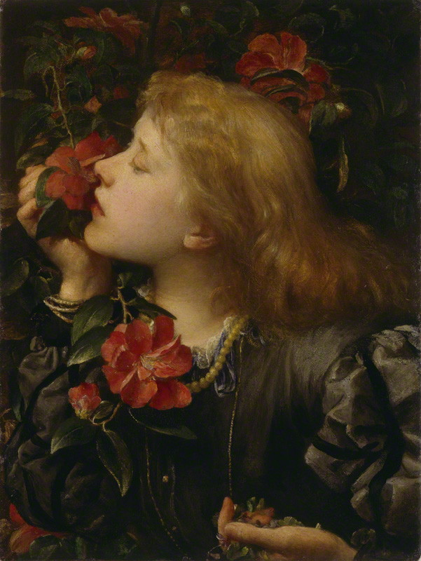 Oil painting of young woman with golden hair sniffing a red flower, holding violets in her other hand