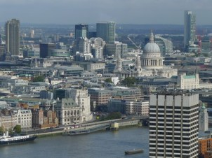 Panorama from London Eye showing Thames and St Paul's Cathedral as well as many other buildings