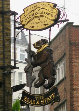 Pub sign for The Bear and Staff in London's West End