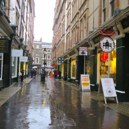 Rain started on Cecil Court and carried on for some time
