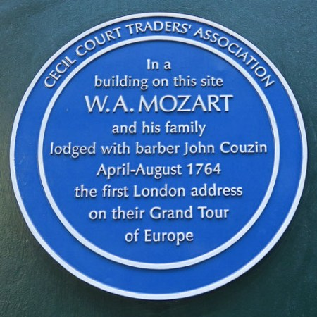 Blue plaque for Mozart on Cecil Court
