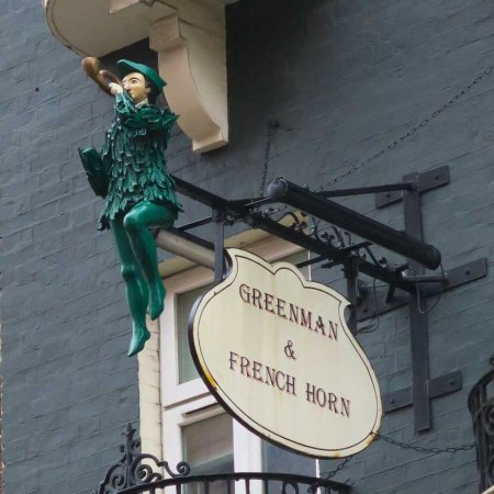 Green Man and French Horn pub sign