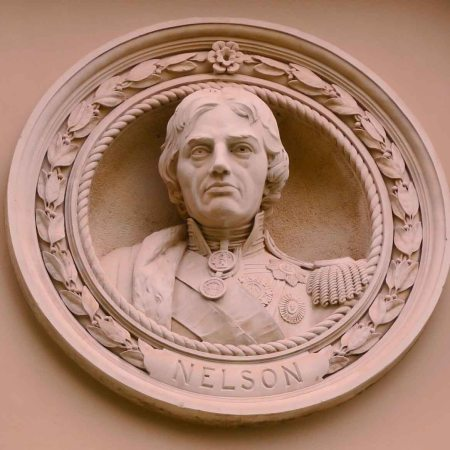 Admiral Lord Nelson, a bust in a roundel at the Greenwich visitor centre