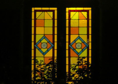 Stained glass windows seen on our evening walk in London