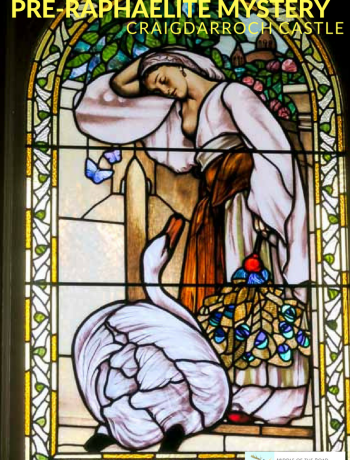Stained glass window at Craigdarroch Castle in Victoria, BC. Based on a famous pre-Raphaelite painting, this window has a mystery. | Jill Browne photo