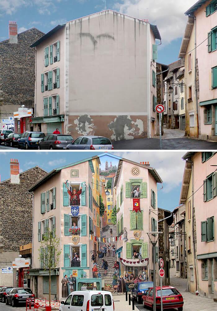 Increíbles fachadas pintadas que te harán dudar si son reales 02