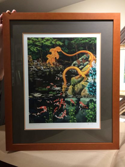 photo of matted and framed giclee print of Eastern Forest Dragon & Koi Pond