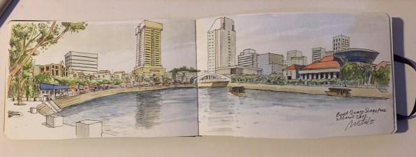 Boat Quay, saya sketch dulu sekali saat ke Singapore