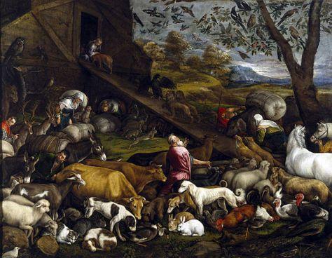 Animales entrando al arca de Noé -Jacopo_Bassano