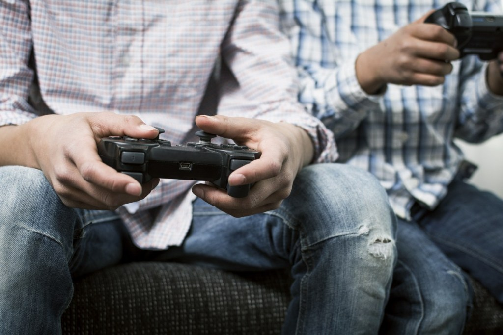 Kids can get gamers thumb from playing video games for an extended period.