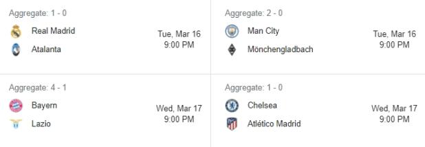 صورة توضح الأسبوع الثاني لمباريات العودة من دوري أبطال أوروبا