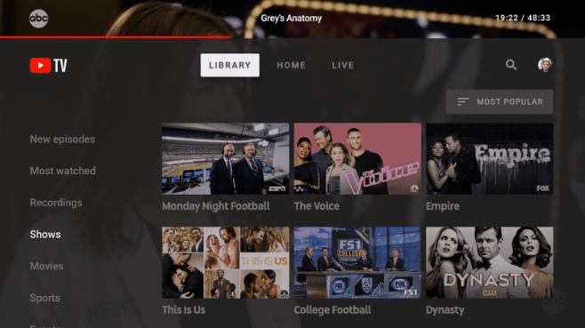YouTube formaté pour une expérience sur TV de salon