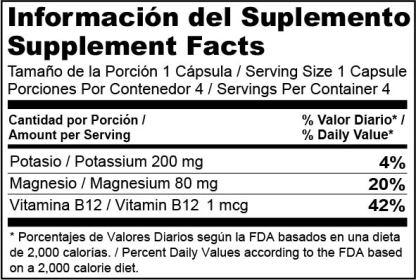 Etiqueta Nutricional MouK ESSENTIALS B12. Magnesio, Potasio y Vitamina B12.