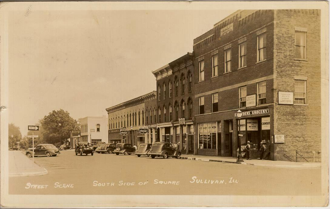 Moultrie County Postcards Sullivan The Square And Other