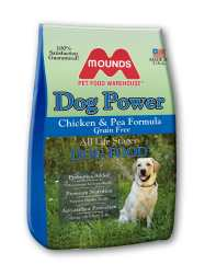A bag of Mounds Grain Free Dog Power