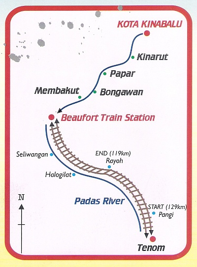 Padas white water rafting map