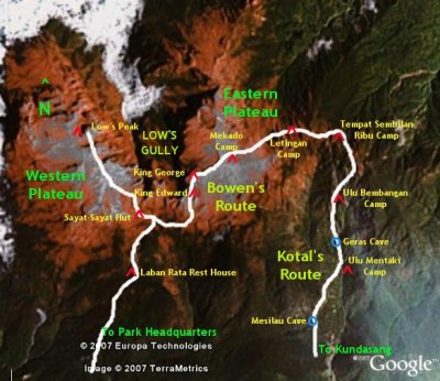 Eastern Plateau Map on Kinabalu - Bowen's Route & Kotal's Route