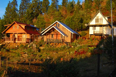 Sunrise @ Kiram's Village. There's a fish pond in front of the chalets.