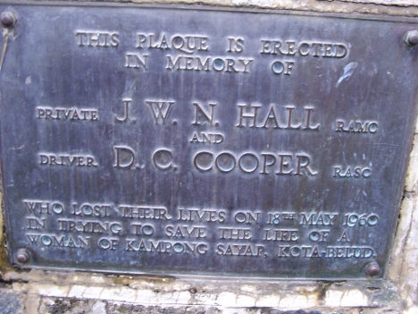 The memorial plaque to two brave soldiers