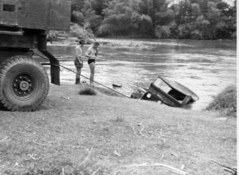 The Scammel hauls out the Landrover