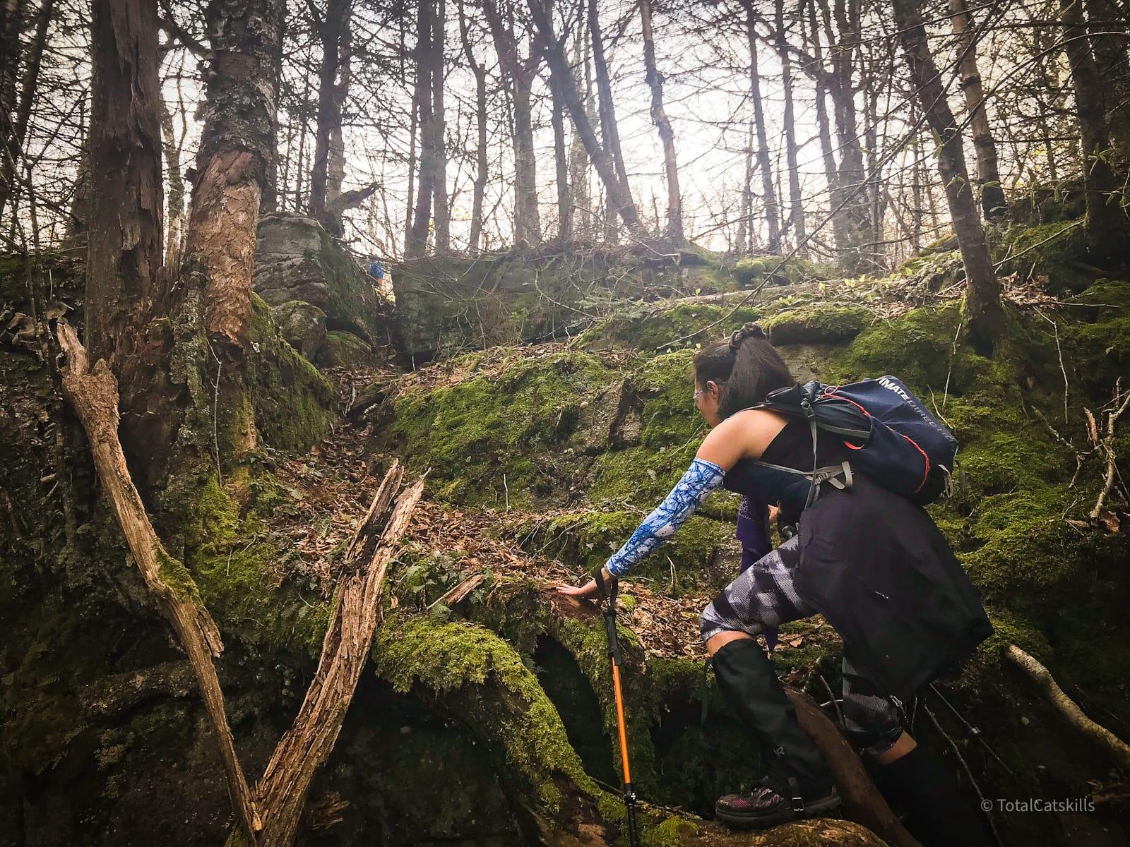 hiker climbing