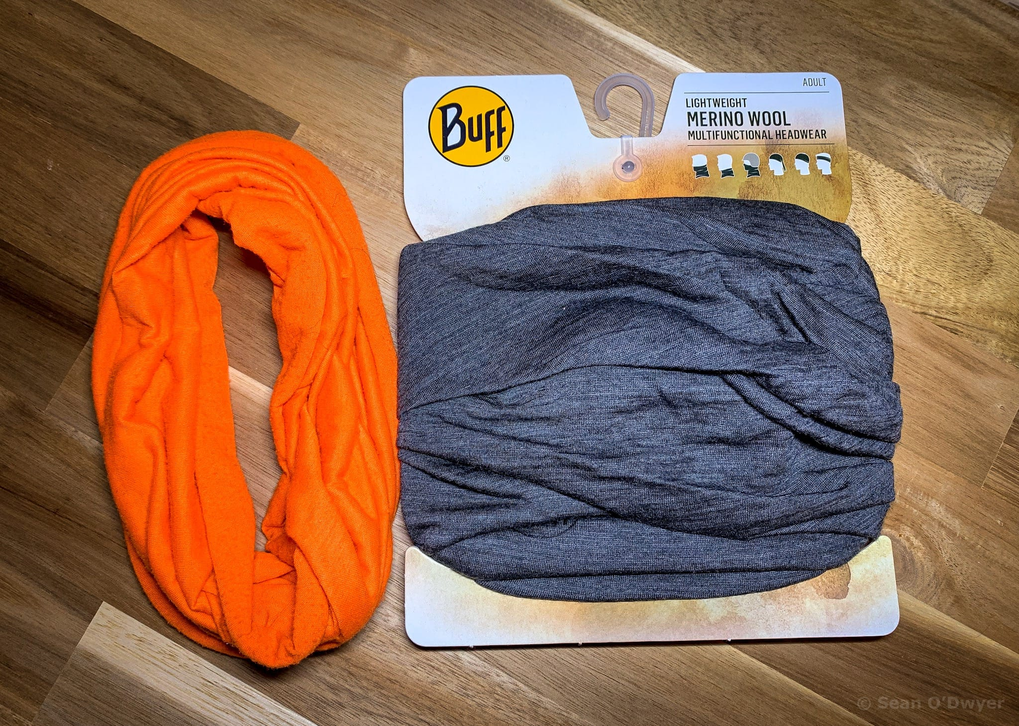 Two buffs, orange and and gray