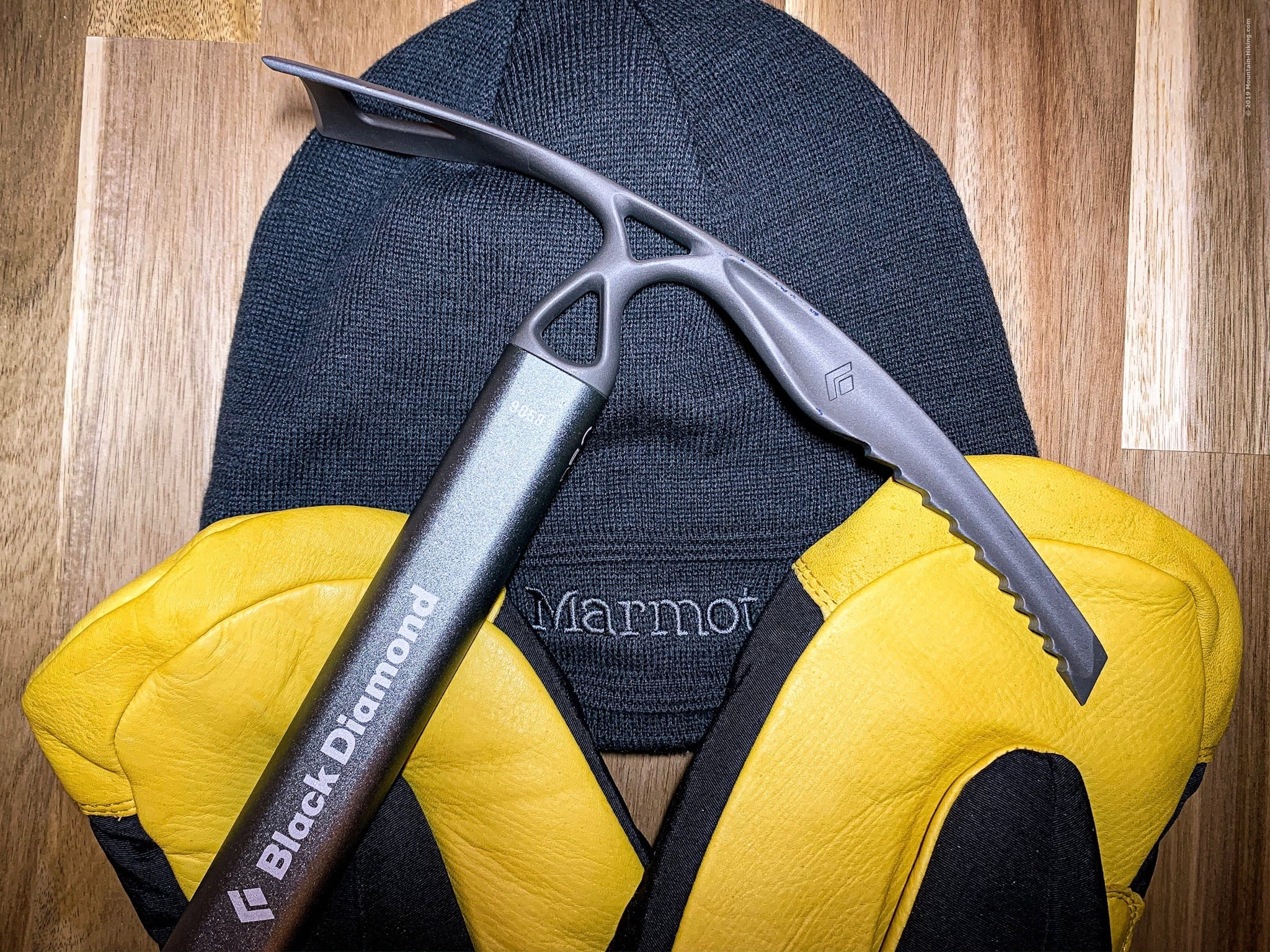 Winter Hiking Gear: hat, gloves, ice axe