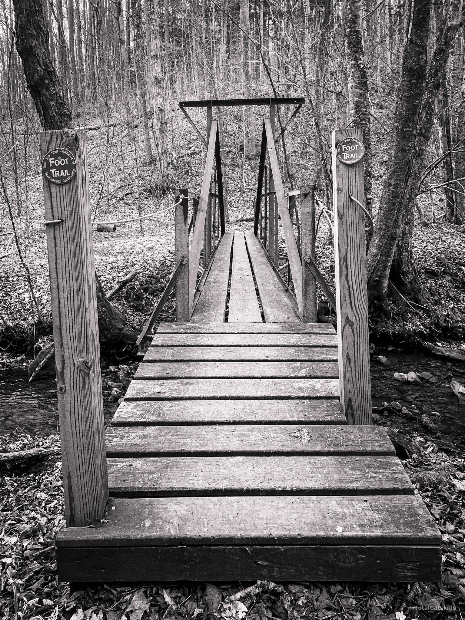 iron and wood footbridge