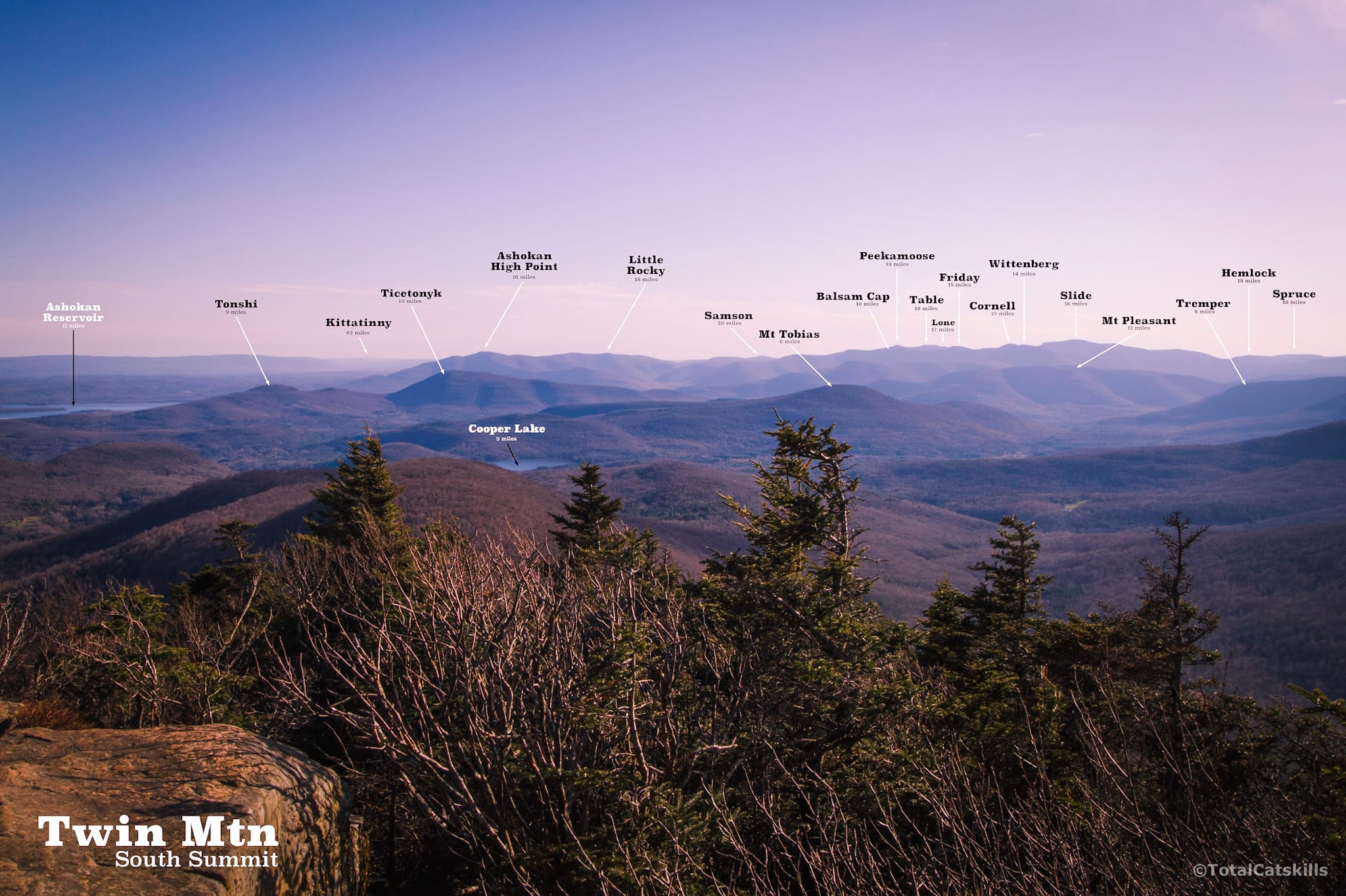 labelled view of catskills from Twin Mountain