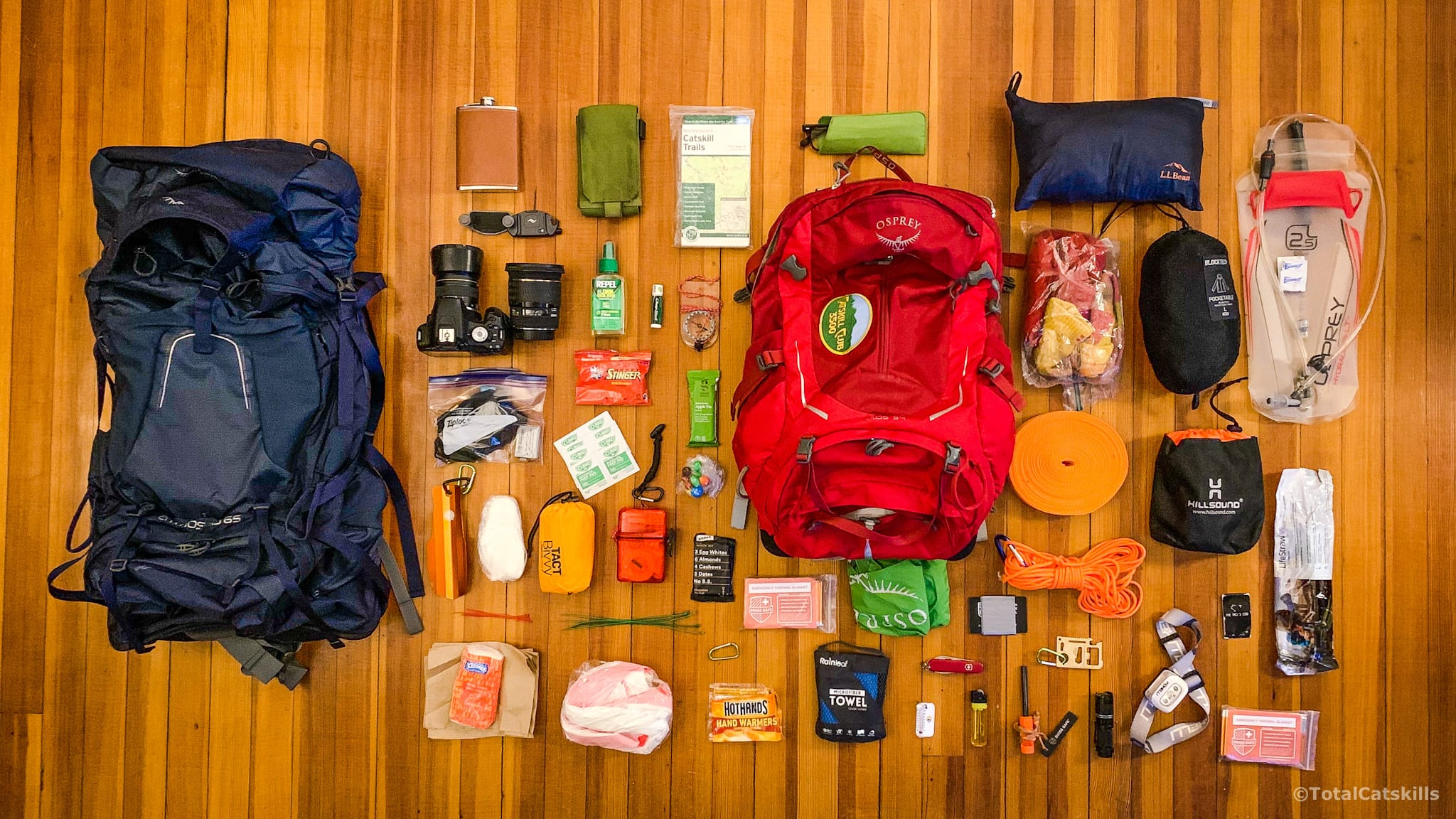 hike essentials and two backpacks