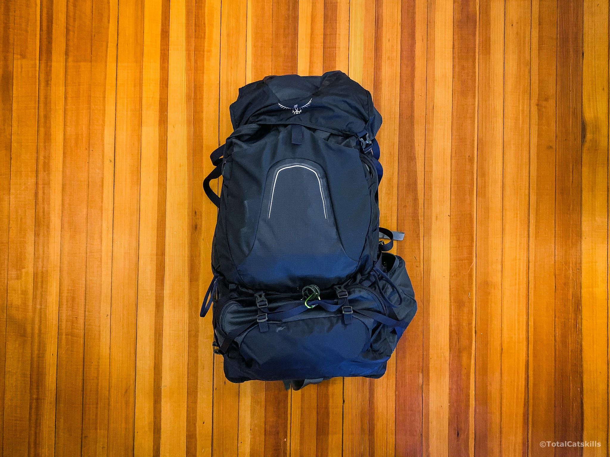packed backpack, blue