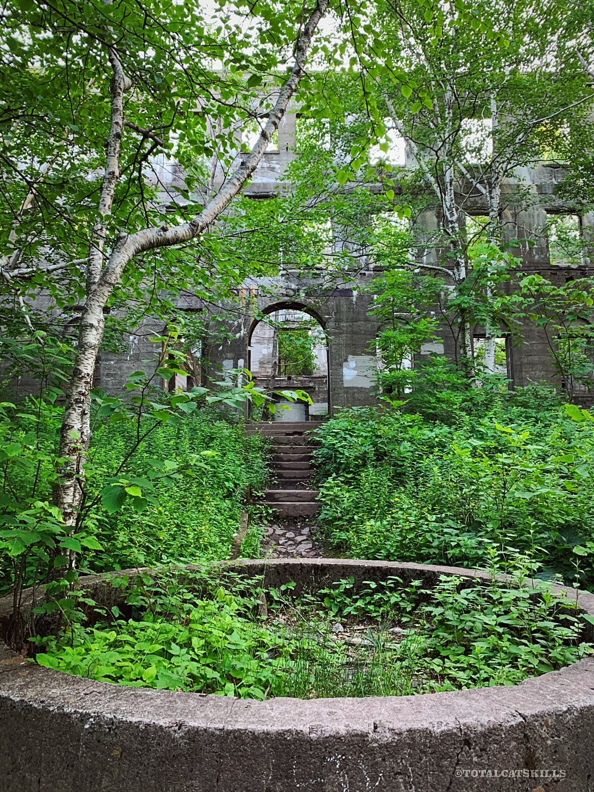 overlook mountain trail / courtyard ruins in woods