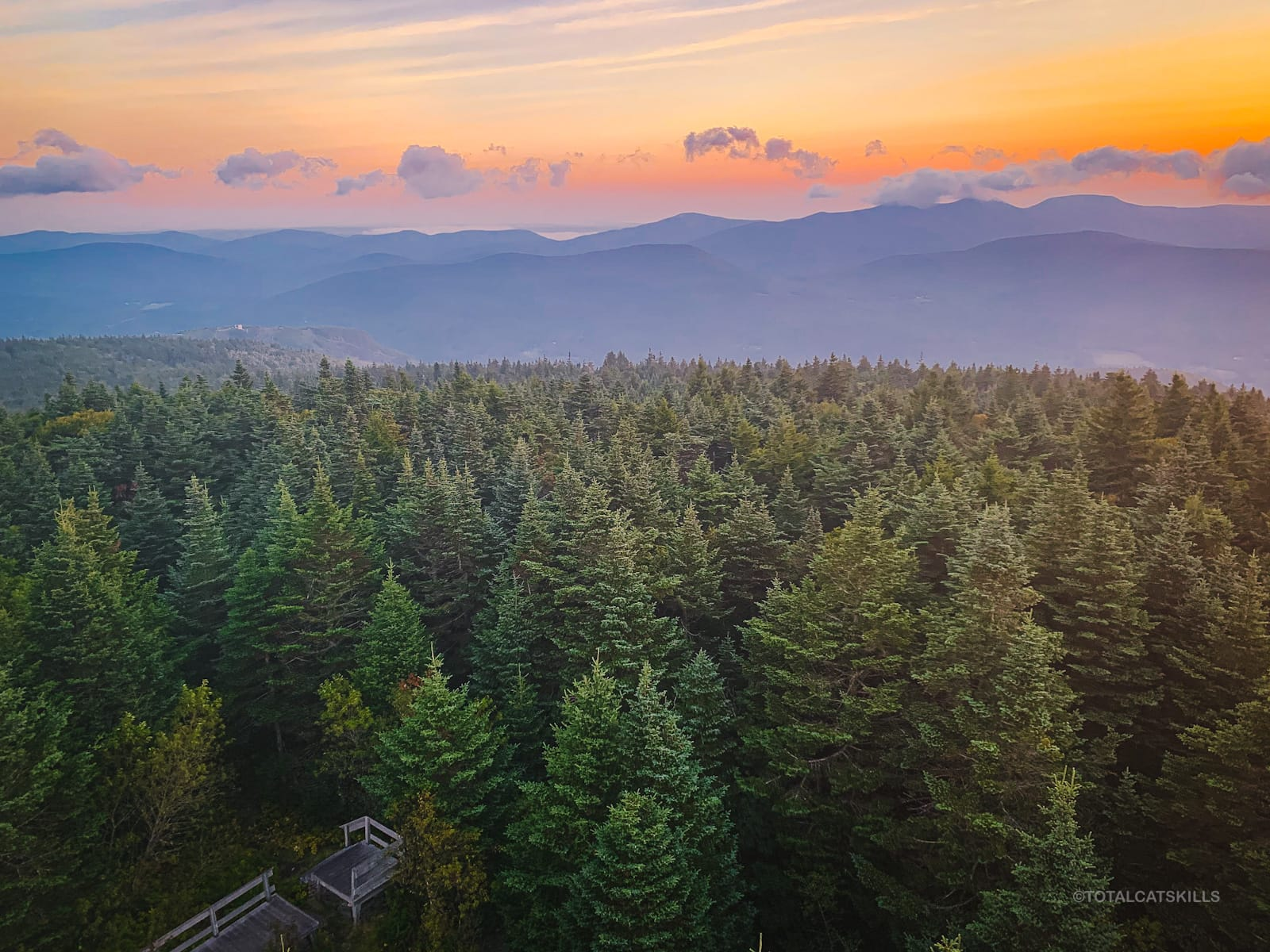 mountain ranges at dawn