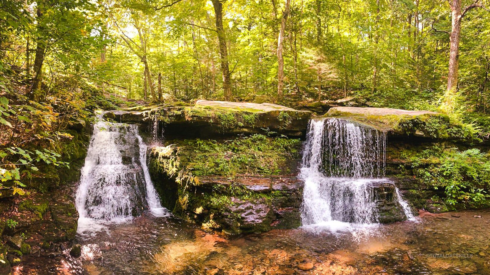 two waterfalls side by side