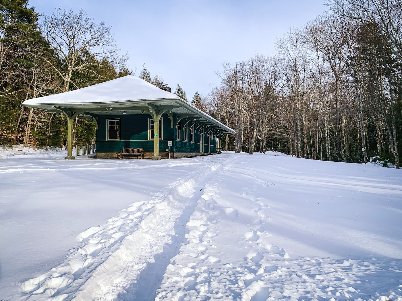 Mountain Top Historical Society building surrounded by snow
