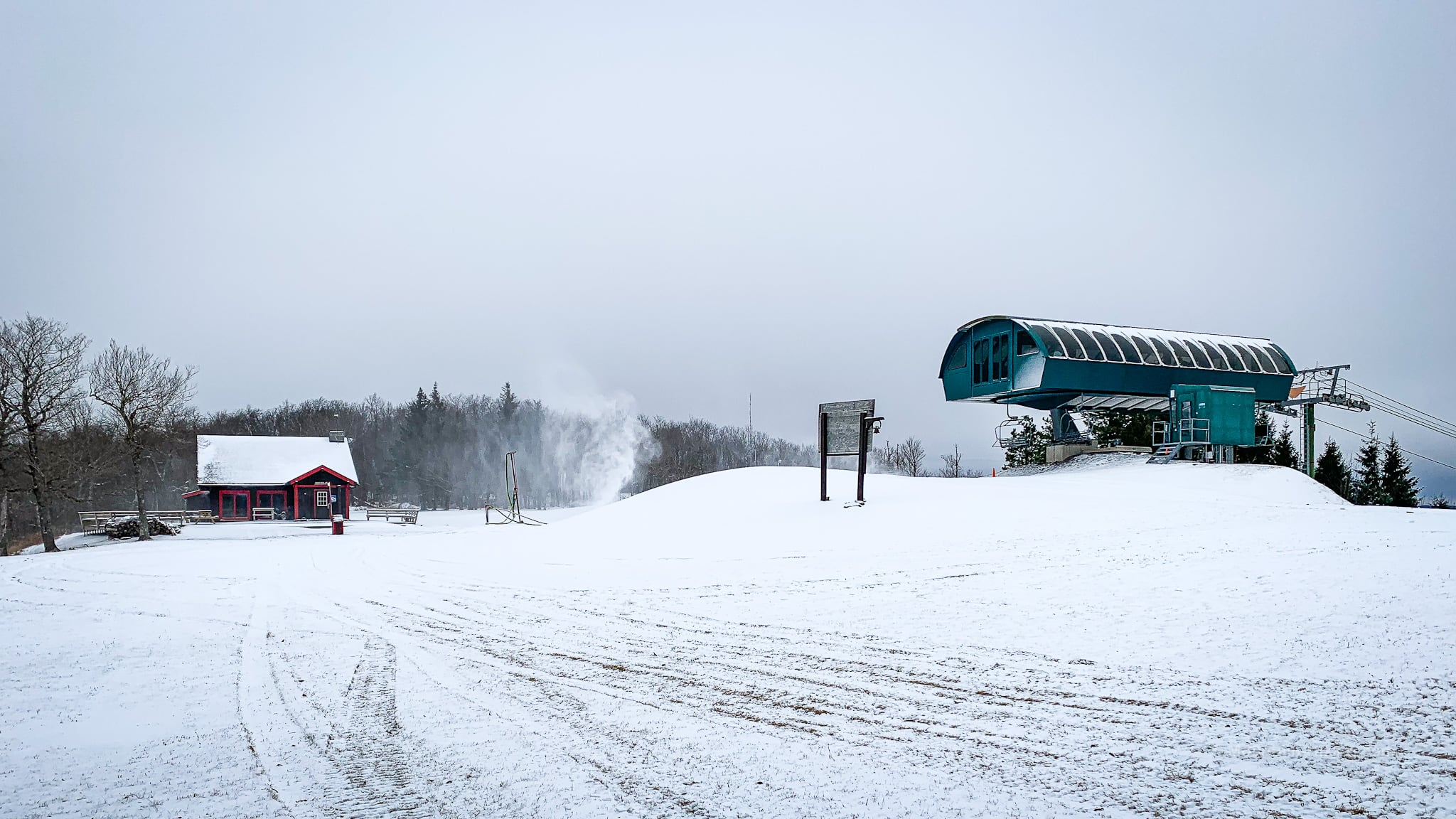 ski lifts and chalet
