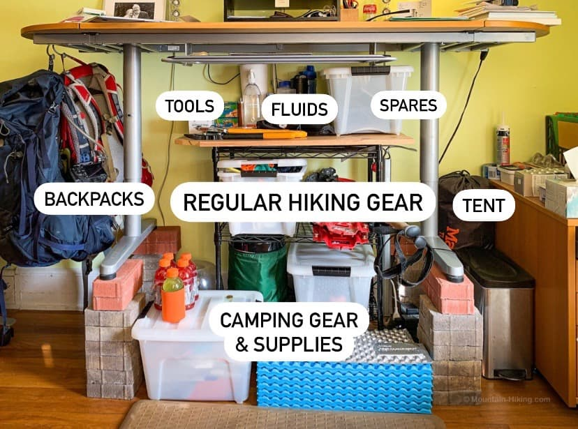 standing desk with hiking gear storage underneath